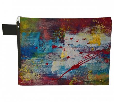 Pochette en tissu rouge, turquoise, jaune et blanc, produit dérivé de la peinture abstraitede l'artiste peintre Gisèle Vivier