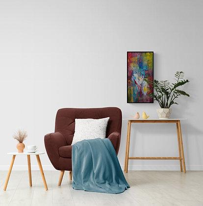 mise en situation de la peinture abstraite de l'artiste Gisèle Vivier