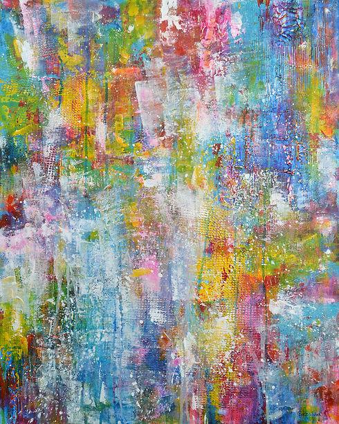 Peinture abstraite colorée par Gisèle Vi