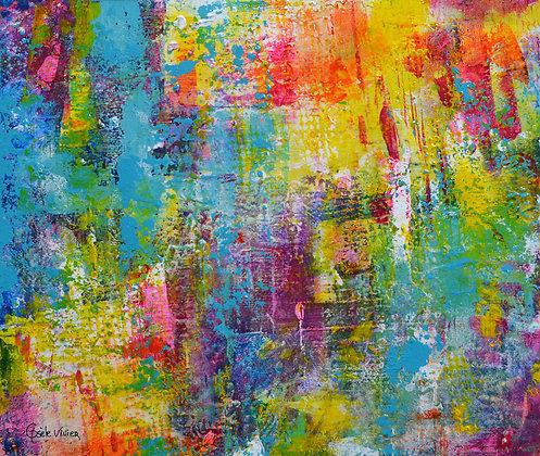 Art abstrait turquoise, jaune et vert