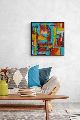 salle de séjour - mise en situation de l'oeuvre abstraite de l'artiste peintre Gisele Vivier