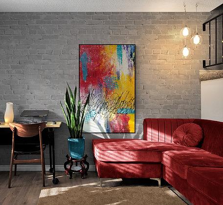 Mise en situation de la peinture abstraite de l'artiste peintre Gisèle Vivier