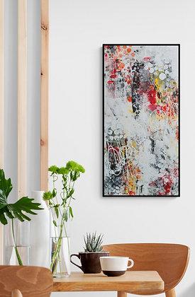 mise en situation de l'oeuvre abstraite sur mesure de l'artiste peintre Gisele Vivier