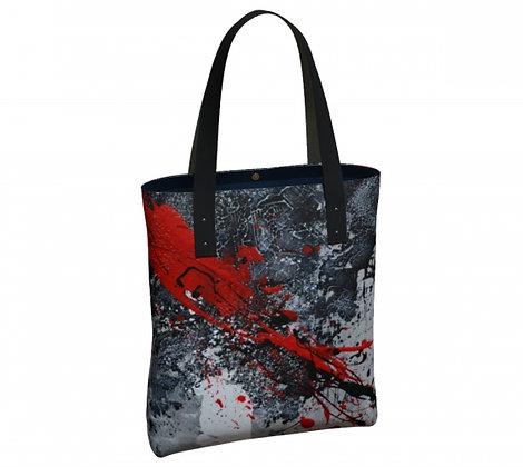 Sac classique noir et rouge produit dérivé de l'oeuvre abstraite de l'artiste peintre Gisèle Vivier