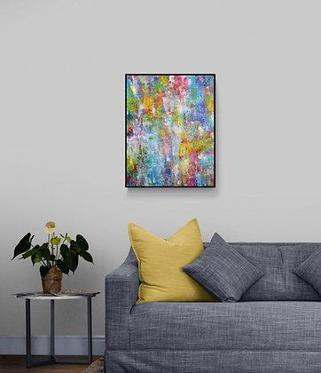 mise en situation peinture abstraite de l'artiste peintre Gisèle Vivier