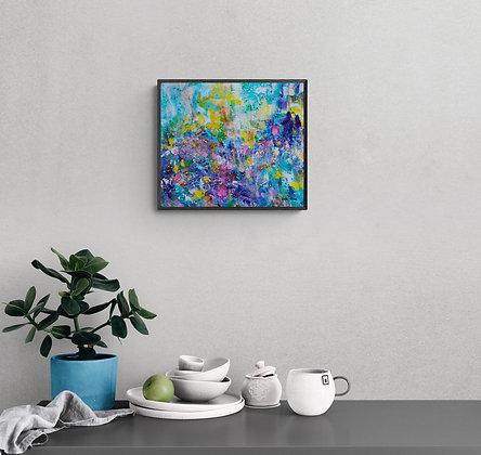 Mise en situation de l'oeuvre abstraite de l'artiste peintre Gisele Vivier
