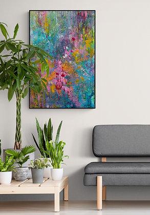 mise en situation de la peinture abstraite de Gisele Vivier, artiste Peintre