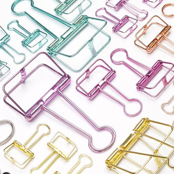 Colorful-metal-hollowed-out-binder-clip-paper-clips-clamp-golden-silver-Foldback-Clip-office-binding