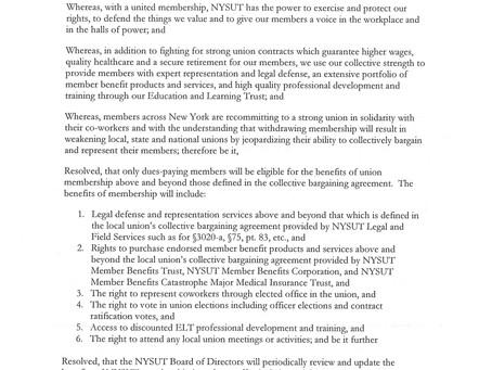 NYSUT Board of Directors policy regarding Member re-entry
