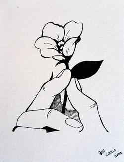 mano con flor- tinta con plumilla