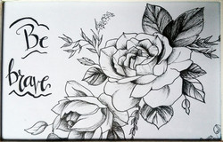 rosas- tinta con plumilla