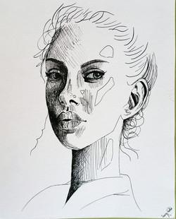 mujer- tinta con plumilla