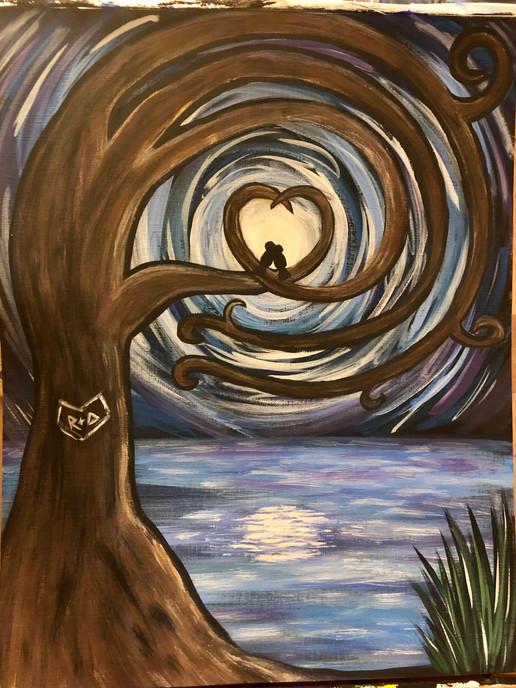 Love Birds in the Moonlight