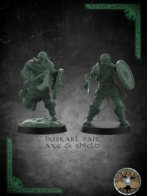 Huskarl Pair With Axe & Shield