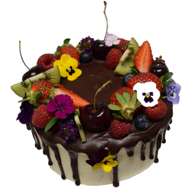 vanilla iced with choc drip berries and