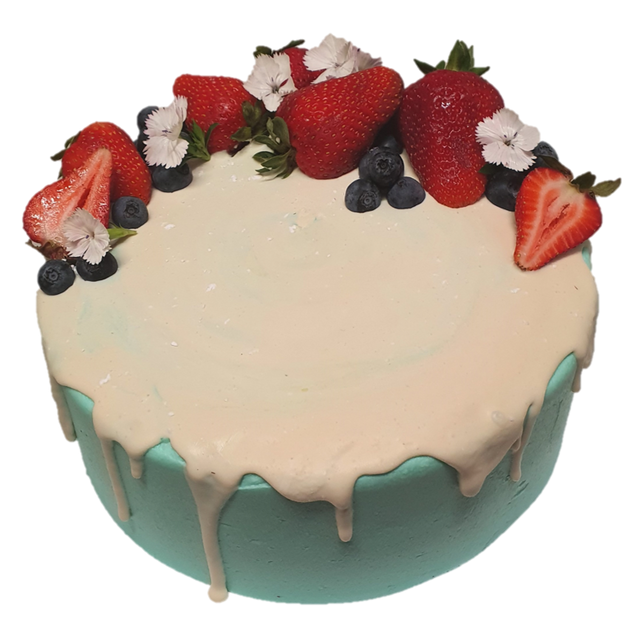 Blue icing with white drip and berries L
