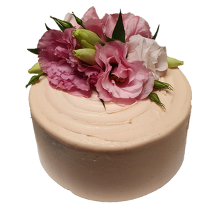 pink iced with pink and white roses larg
