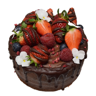 choc icing small with drip and fruit lar