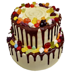 2 tiered vanilla iced with choc drip and