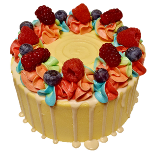 yellow iced with white choc drip, colour