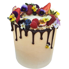 Large Tall Full Coverage with bewrries, edible flowers + choc drip