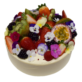 vanilla iced with fruit and flowers larg