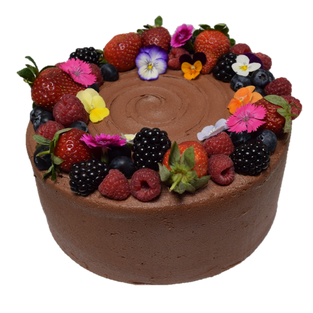 choc icing med std with mixed berries an