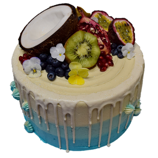 Blue icing with white drip and mixed fru