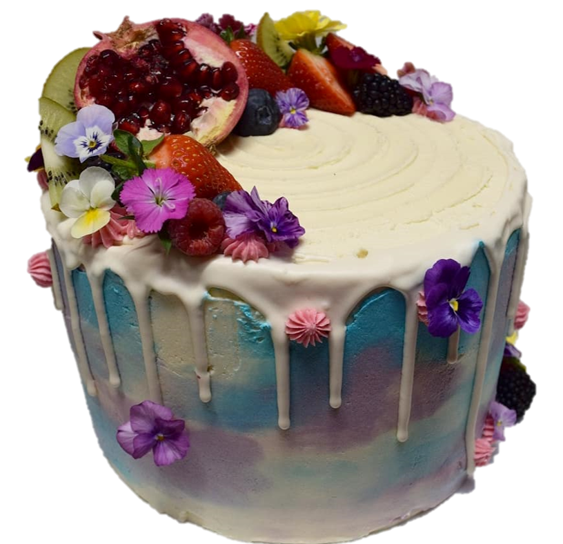 water colour icing with drip, fruits and