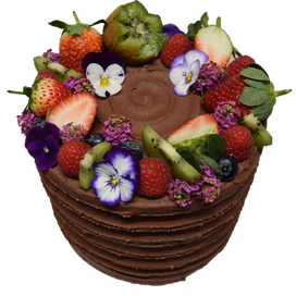 Textured style Tall chocolate iced with fruits and edible flowers