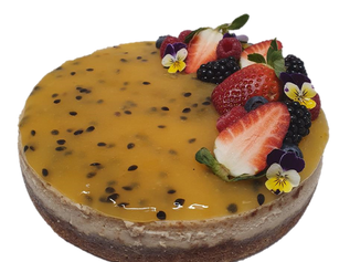 cheesecake with passionfruit and berries