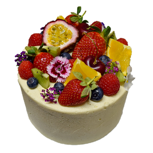 vanilla iced small with fruit and flower