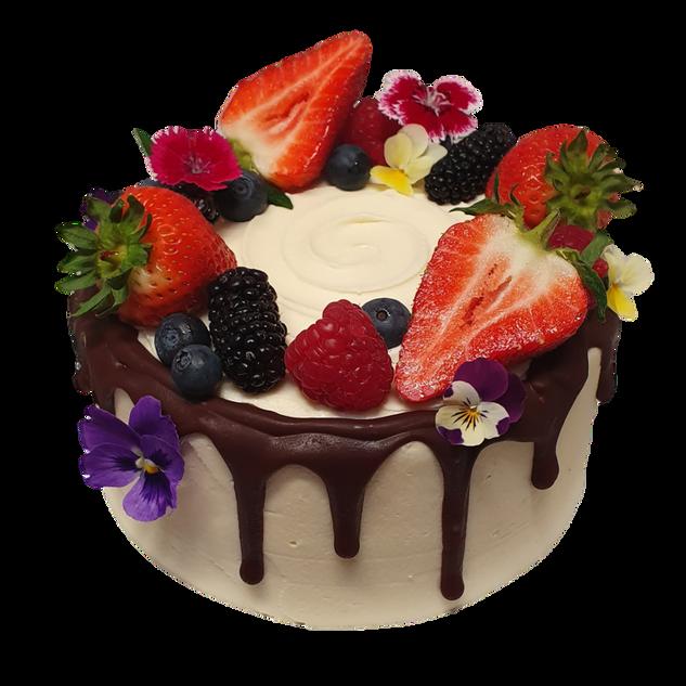 vanilla icing small choc drip and berrie