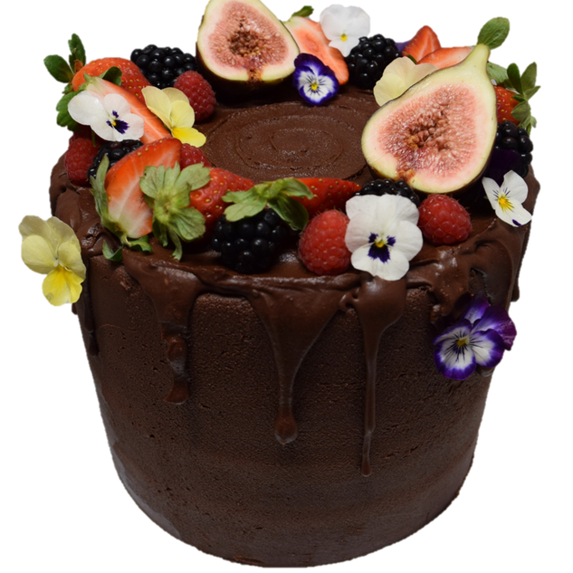 choc icing large with mixed fruit and fl
