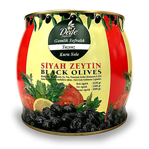 Gemlik Sofralık Kuru Sele (Tuzsuz) Siyah Zeytin 2kg
