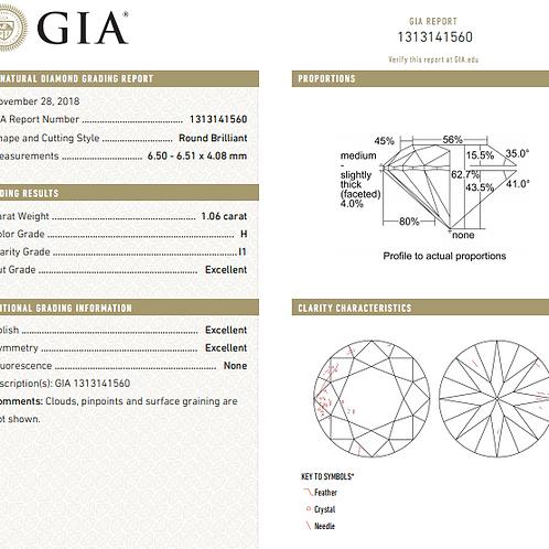 GIA 1.06ct H i1 3EX None