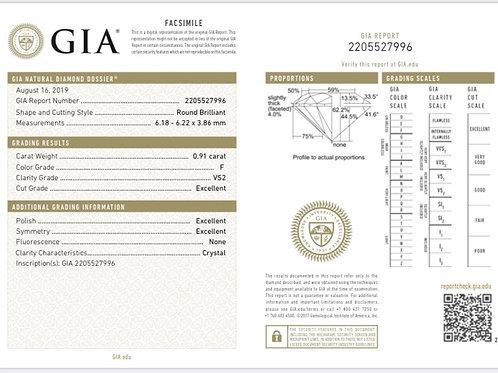 GIA 0.91ct F VS2 3EX None