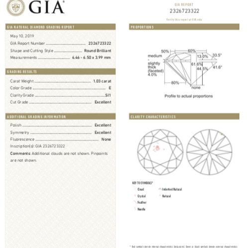 GIA 1.03ct E SI1 3EX None