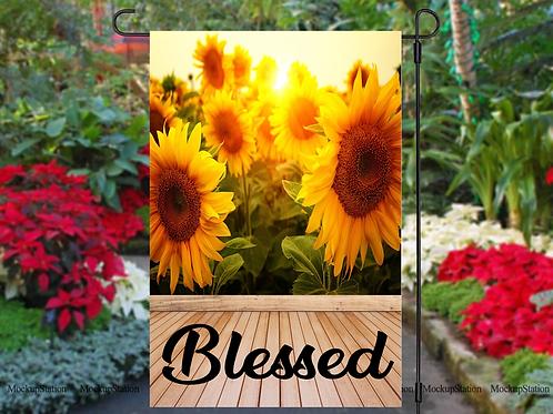 Sunflower Blessed Garden Flag