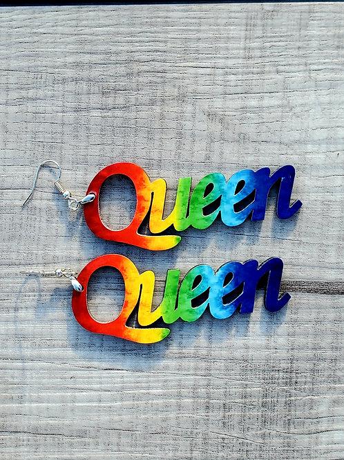 Queen Earrings Rainbow