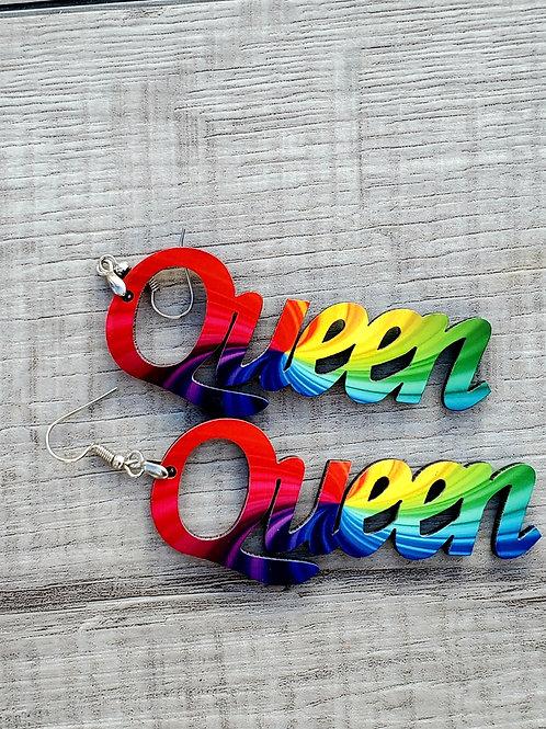Queen Earrings Tye Dye