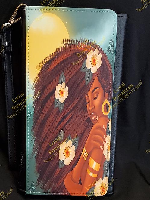 Flower Afro Queen Clutch Wallet