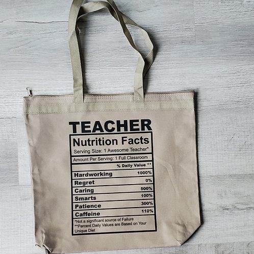 Teacher Nutrition Tote Bag