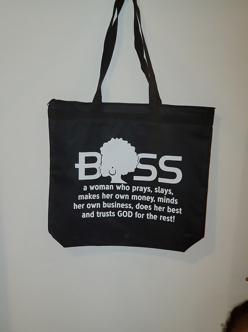 Boss In White Letters Tote Bag