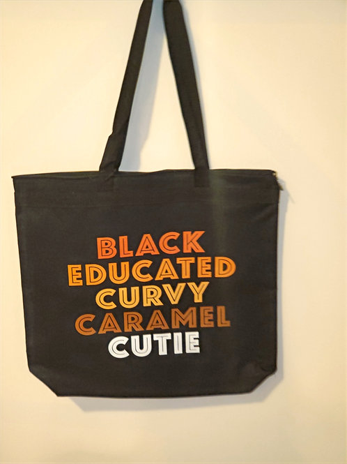 Black Educated Curvy Caramel Cutie Tote Bag