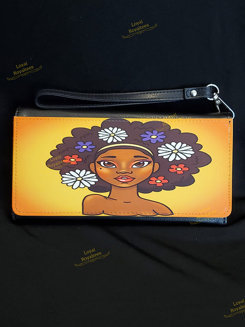 Flower Afro Natural Queen Clutch Wallet