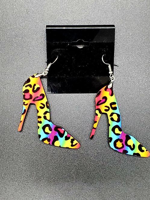 Rainbow Leopard High Heels Earrings