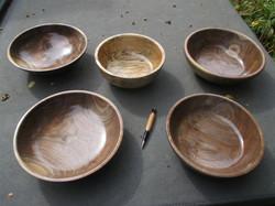 Grinnell Walnut and Birch Bowls