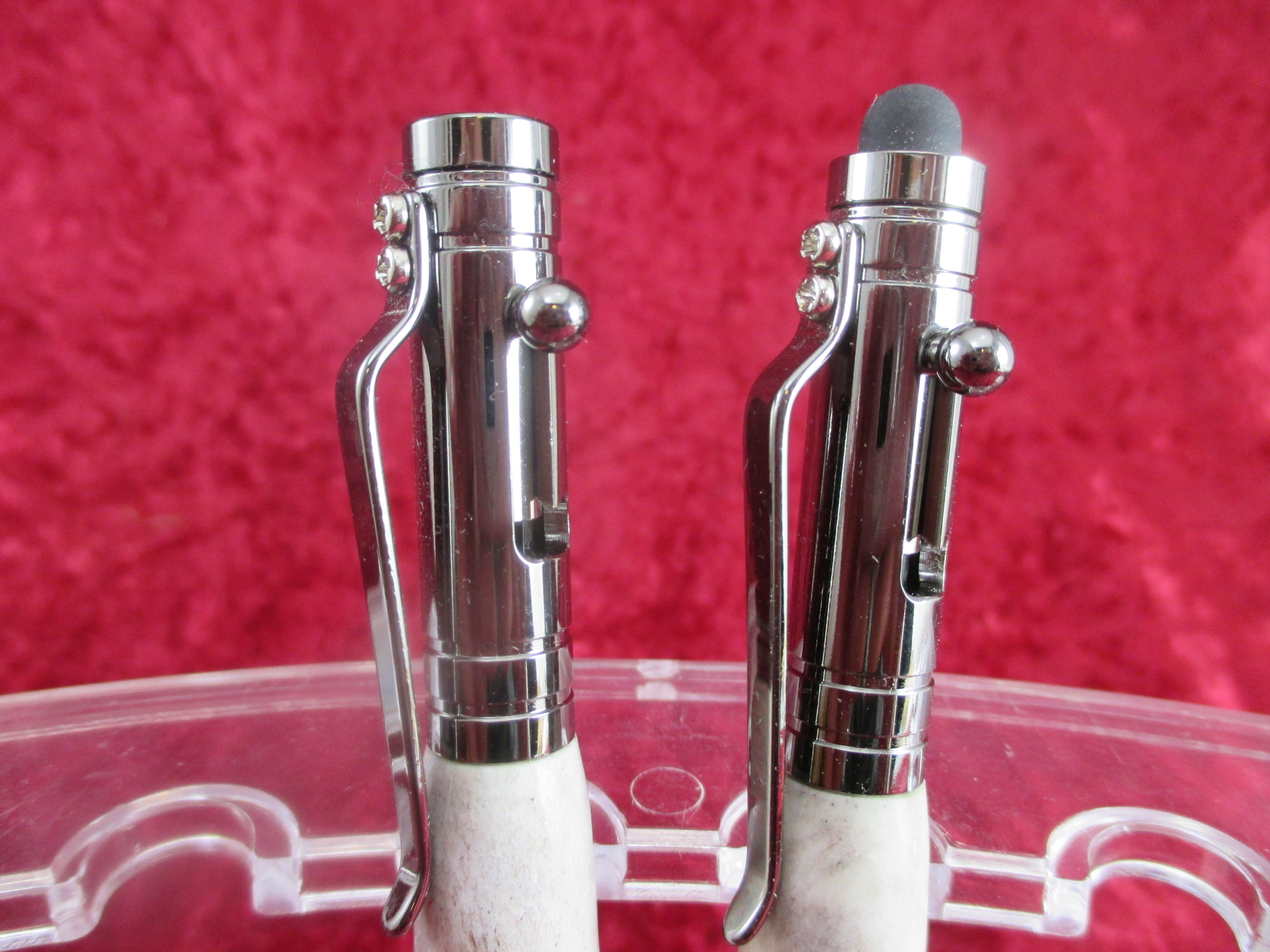 These bolt action pens can have a stylus or metal cap. The ones shown here  are mad with deer antler. sold 48ee83ee7fe7