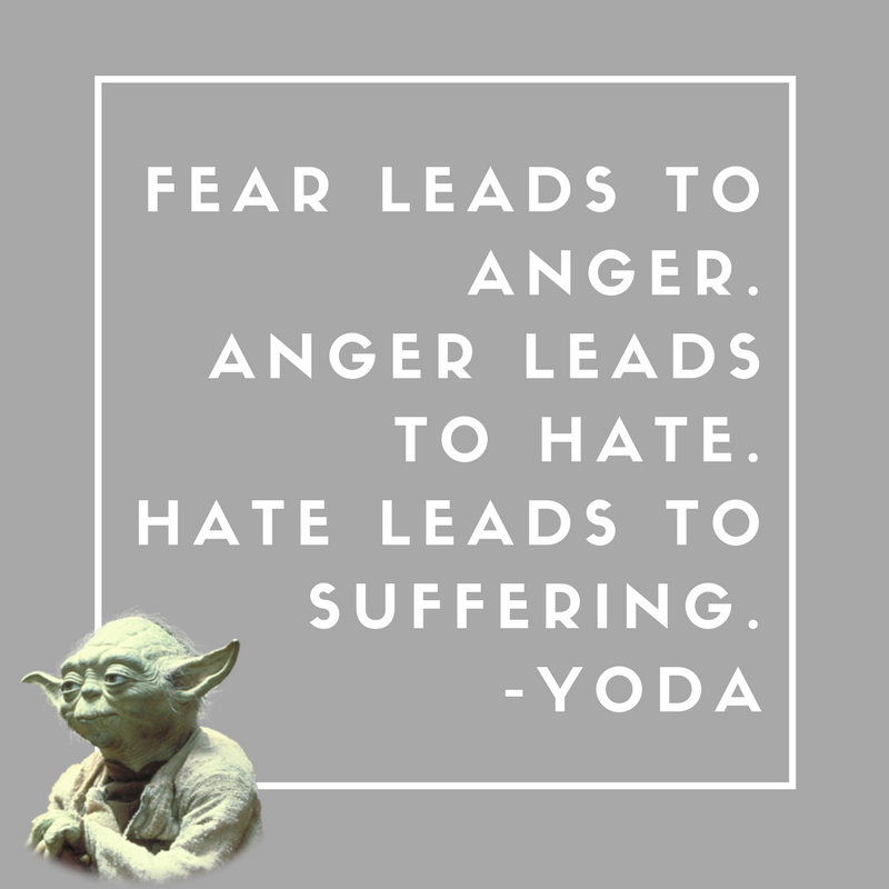 "Image of Yoda from Star Wars, with ""Fear leads to anger. Anger leads to hate. Hates leads to suffering."" quote."